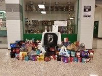 Coffee collected by students for Veterans.