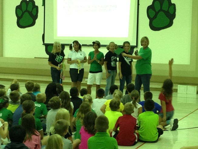 Teachers demonstrated and taught our cafeteria, restroom, hallway, bus, and recess expectations!