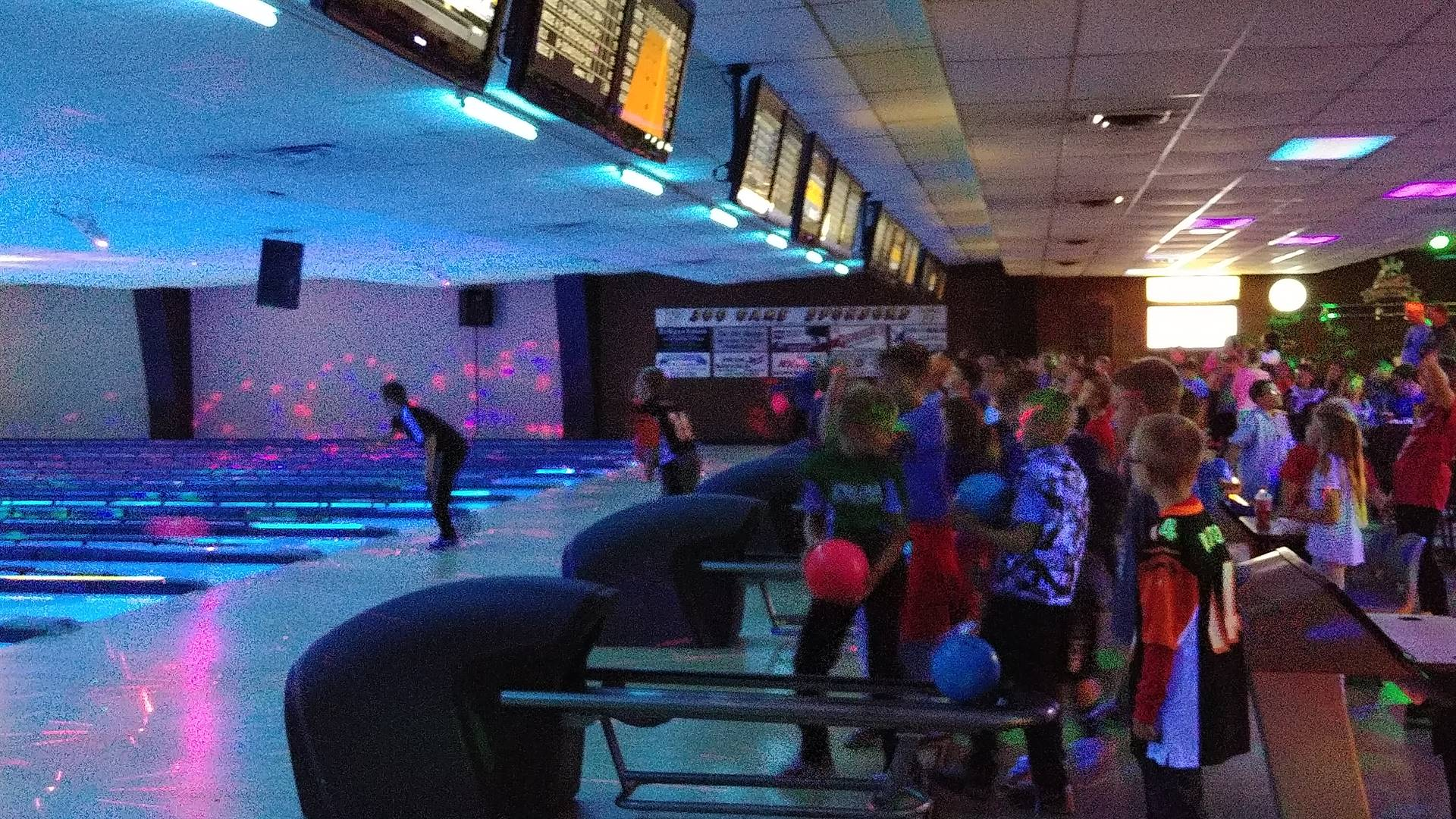 Students Bowling at Plamor Lanes in Coldwater