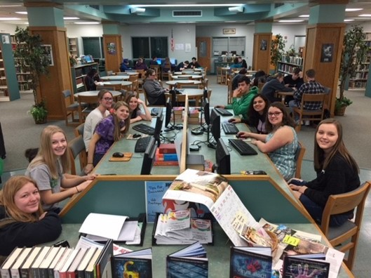 CHS Students complete English projects on MS Publisher.