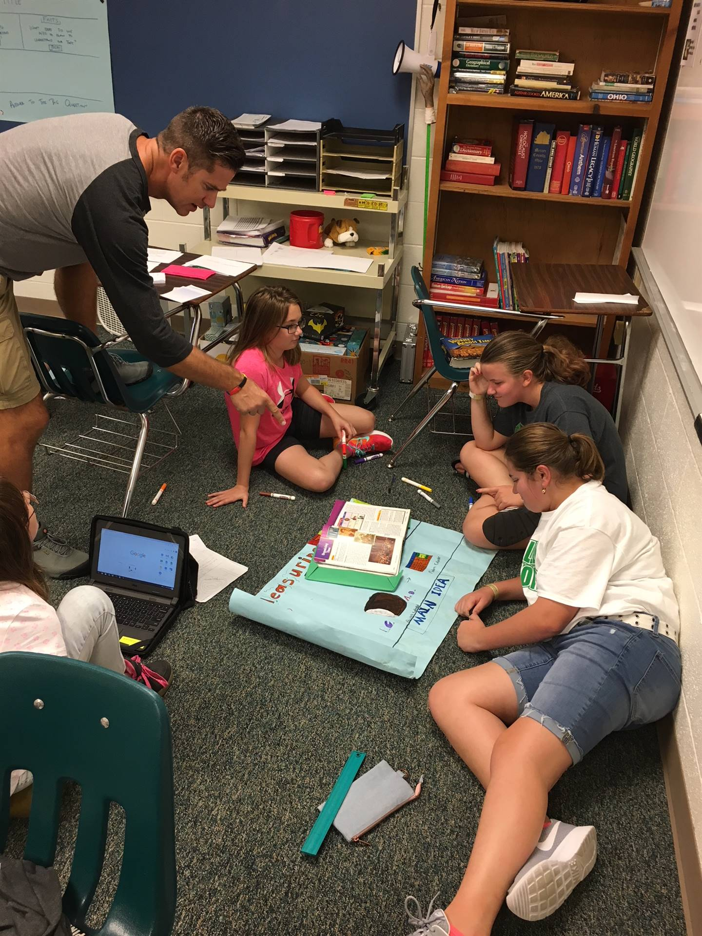 Students working on a History Project with Mr. Lisi
