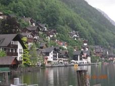 Hallstatt Austria, Houses along Water and Mountains