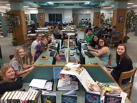 Students at work in the media center.